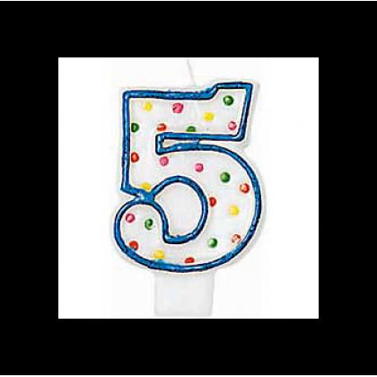 "3"" Polka Dots Flat Molded Birthday Candles #5"