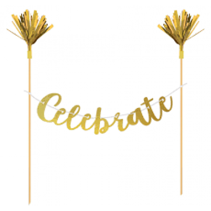 Cake Banner - Wood w/Metallic Letters & Foil - Gold