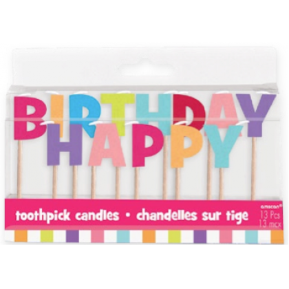 """3"""" Toothpick Candle Sets Happy Birthday Girl"""