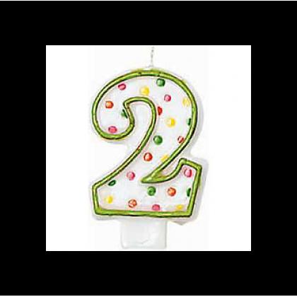 "3"" Polka Dots Flat Molded Birthday Candles #2"