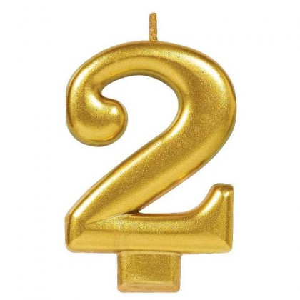 Numeral Candles Gold Metallic #2