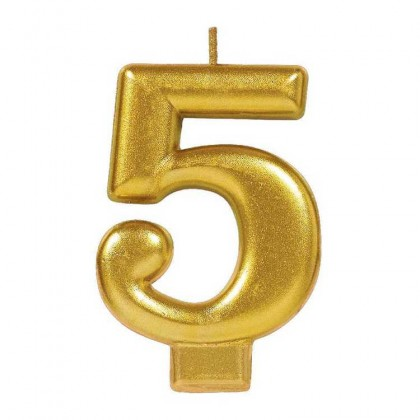 Numeral Candles Gold Metallic #5