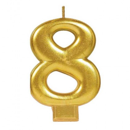 Numeral Candles Gold Metallic #8