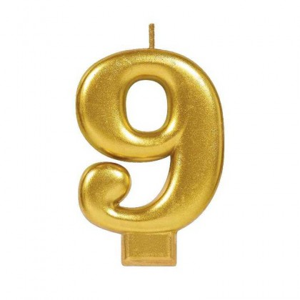 Numeral Candles Gold Metallic #9
