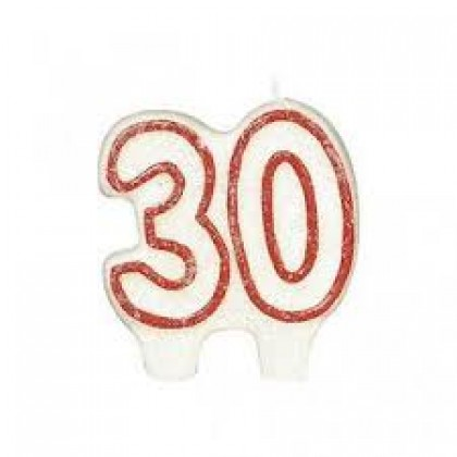 """2 3/4"""" x 2 3/8"""" Numeral Birthday Candles #30 Red"""