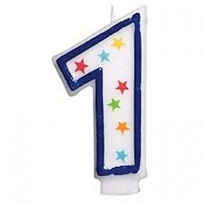 Star Glitter Flat Moulded Birthday Candles #1
