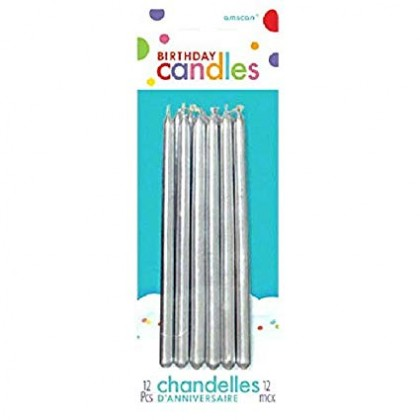THIN TAPER CANDLE - SILVER