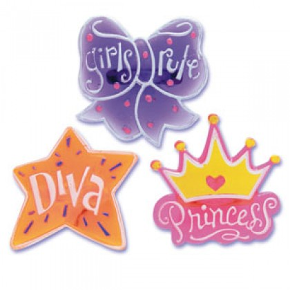 Girly Molded Jewel Rings (Diva,Princess,Girls...)