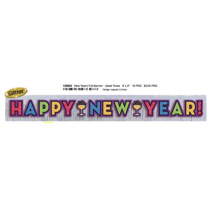 "9' x 11 1/2"" Foil Fringe Banner w/Glitter Paper Letters - Jewel Tones"