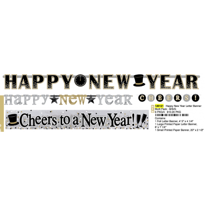 Happy New Year Letter Banner Multi Pack - B/S/G