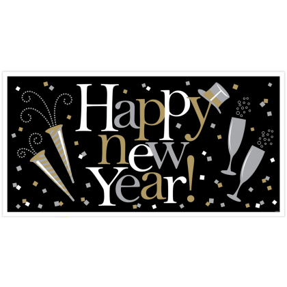 "65"" x 33 1/2"" Happy New Year Large Horizontal Banner - Plastic - Black, Silver & Gold"