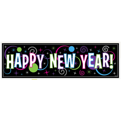 "65"" x 20"" New Year's Giant Sign Banner - Plastic"