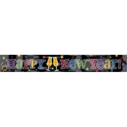 "9' x 5"" New Year's Foil Banner - Jewel Tones"