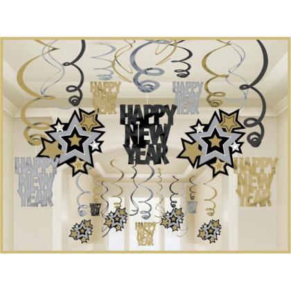 Mega Value Pack Swirl Decorations Foil - Black, Silver & Gold