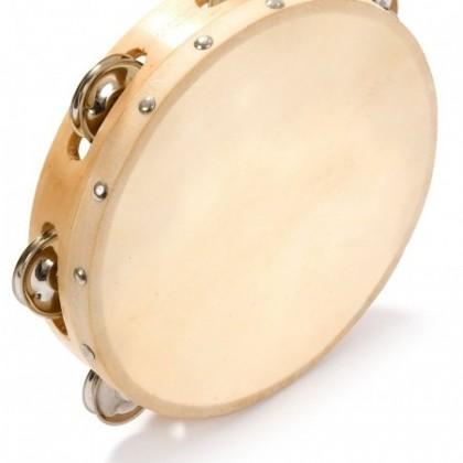 "Wooden Shell Calfskin Tambourine - 8"" x 6"