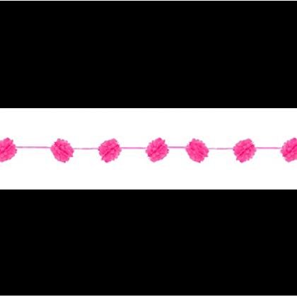 "2 Ribbons, 12' each w/9 Fluffy Tissue Balls, 5 1/2"" Fluffy Garland - Bright Pink"