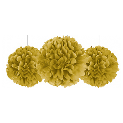 """9 """", 13"""", 16"""" Fluffy Decorations - Gold Tissue Paper"""