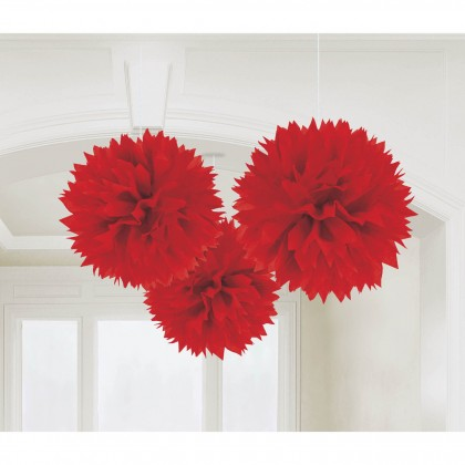 """16"""" Fluffy Tissue Decorations Apple Red"""