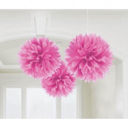 "16"" Fluffy Tissue Decorations Bright Pink"