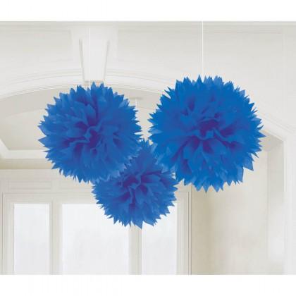 "16"" Fluffy Tissue Decorations Bright Royal Blue"