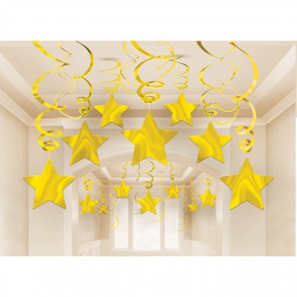 "Swirls Only, 18"", Swirls w/Cutouts, 24"" Shooting Star Mega Value Pack Swirl Decorations - Gold"