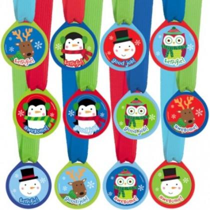 "Ribbon, 13""; Medallion,1 1/2"" Winter Award Medal Assortment Plastic Medallion w/Ribbon"