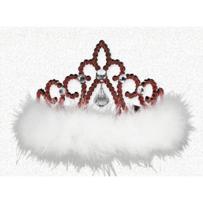 "3 1/2"" x 4 1/2"" Christmas Tiara Electroplated Plastic w/Marabou"