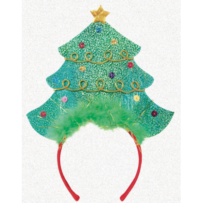 "10 1/4"" x 4 1/2"" Christmas Tree Headband Fabric w/Sequins & Marabou"