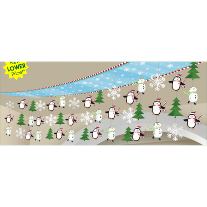 "12"" x 10' Joyful Snowman Ceiling Decoration - Plastic & Foil"