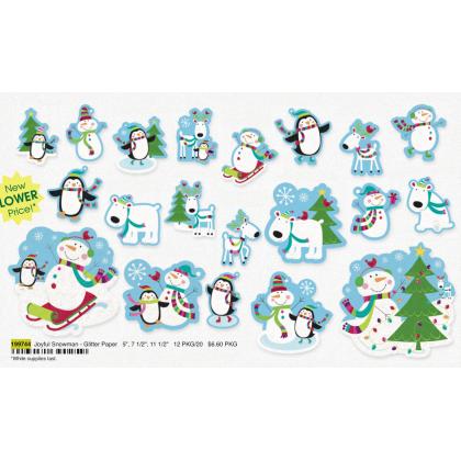 "5"", 7 1/2"", 11 1/2"" Joyful Snowman - Glitter Paper"