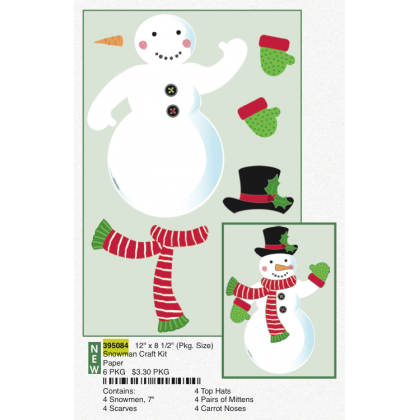 "12"" x 8 1/2"" (Pkg. Size) Snowman Craft Kit Paper"