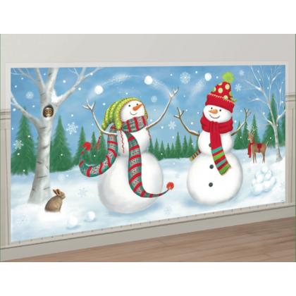 "33 1/2"" x 65 Whimsical Snowman Scene Setters® Add-Ons - Plastic"