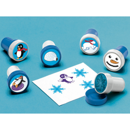 "1"" x 1 1/2"" Winter Fun Plastic Stamper Set"