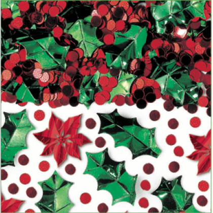 2 1/2 oz. Christmas Botanical Confetti Mix Metallic Foil