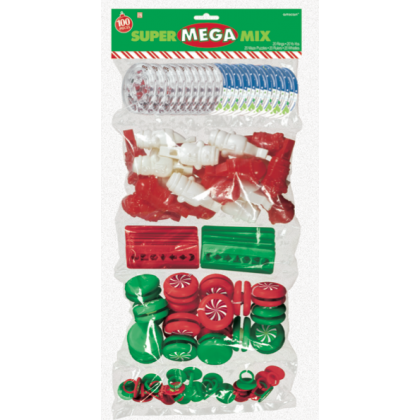 "17 1/2""H x 9 1/2""W Christmas Super Mega Mix Plastic Favors"