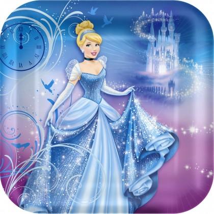 """©Disney Cinderella Square Plates, 9"""""""