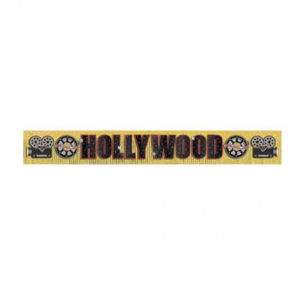 "10' x 11 1/2"" Hollywood Foil Fringe Banner w/Glitter Paper Letters"