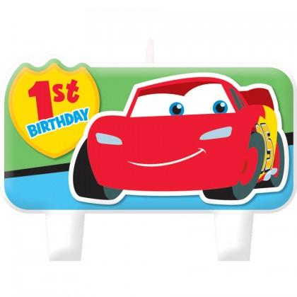 "3 Sm: 1 1/2"", 1 Lg: 2 1/8"" x 3 3/8"" ©Disney Cars 1st Birthday Candle Set"