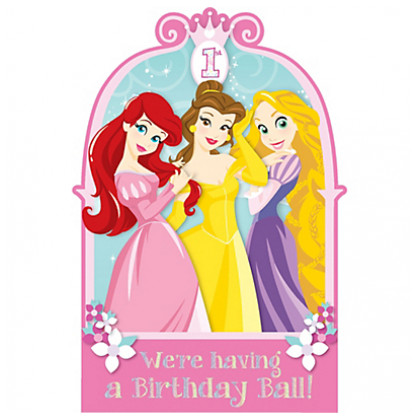 ©Disney Princess 1st Birthday Licensed Postcard Invitations