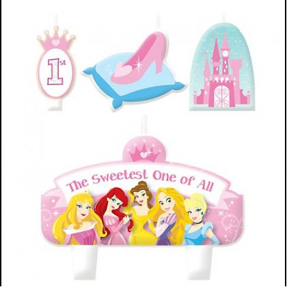 "3 Sm: 3/8"" - 1 3/4"", 1 Lg: 2 3/8"" x 3 1/2"" ©Disney Princess 1st Birthday Candle Set"