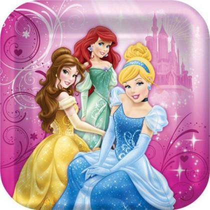 "©Disney Sparkle Princess Square Plates, 9"""