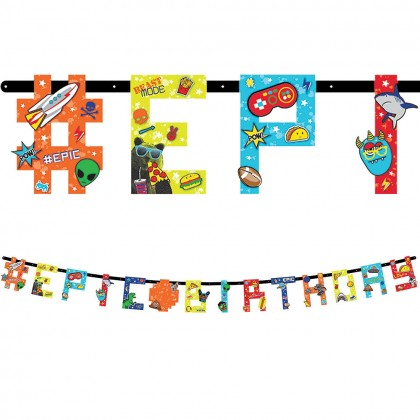 Epic Party Jumbo Add-An-Age Letter Banner - Printed Paper