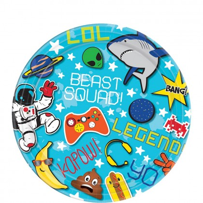 """Epic Party Round Plates, 7"""""""
