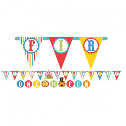 Fisher Price™ 1 st Birthday Circus Illustrated Letter Banner Combo Pack - Printed Paper