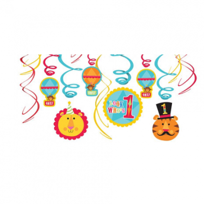 Fisher Price™ 1st Birthday Circus Plastic Swirl Hanging Decorations
