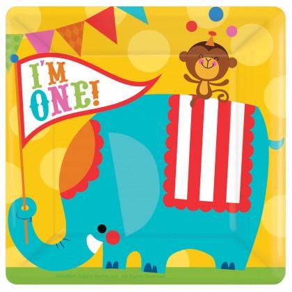 "Fisher Price™ 1st Birthday Circus Square Plates, 10"""