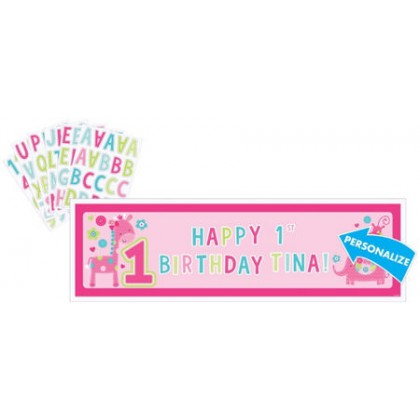 """""""One"""" Wild Girl Personalized Giant Sign Banner - Plastic"""