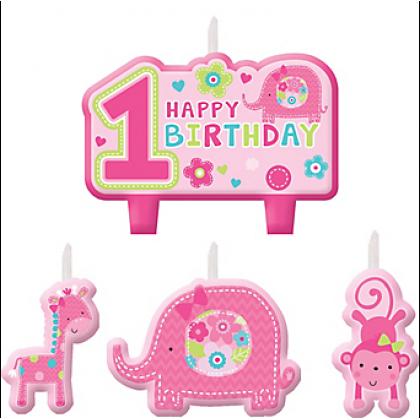"""One"" Wild Girl Birthday Candle Set"