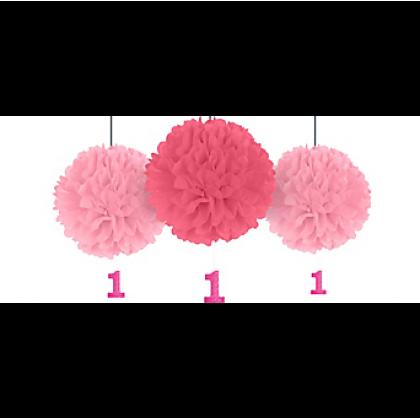1st Birthday Girl Fluffy Decorations w/Danglers - Tissue