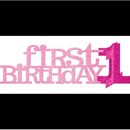 1st Birthday Girl Centerpiece - Heavy Paper Board w/Glitter